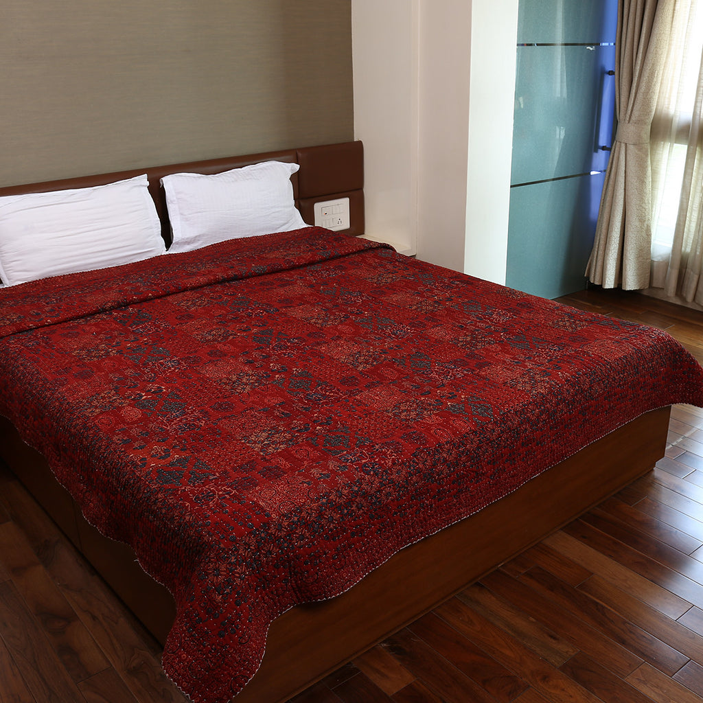 Dual Side Ajrakh Patchwork Hand Block Printed Cotton Quilt with Kantha Work 4