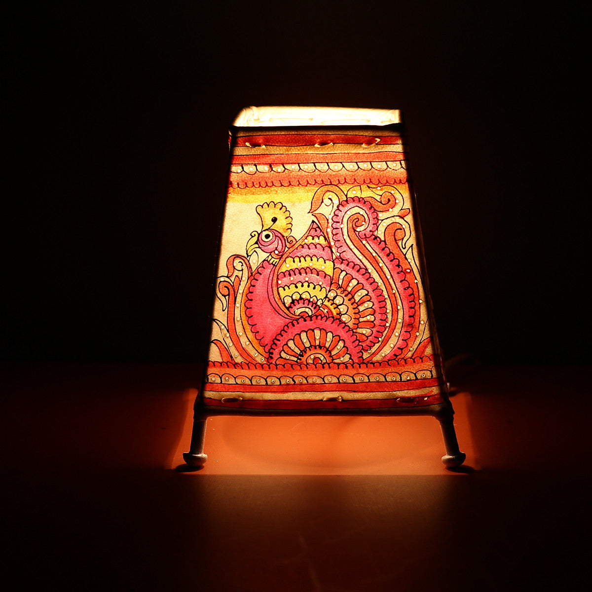 Andhra Pradesh Leather Lamp with Peacock Design