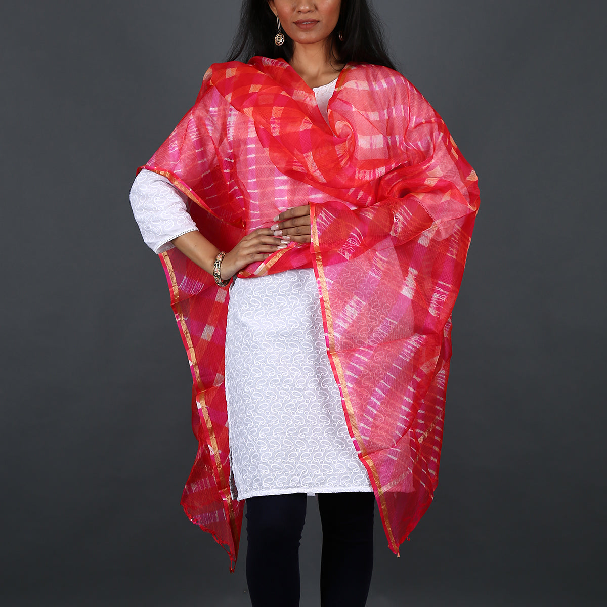 Red Pink Coloured Jaipur Leheriya Dupatta in Kota Silk with Mothra design