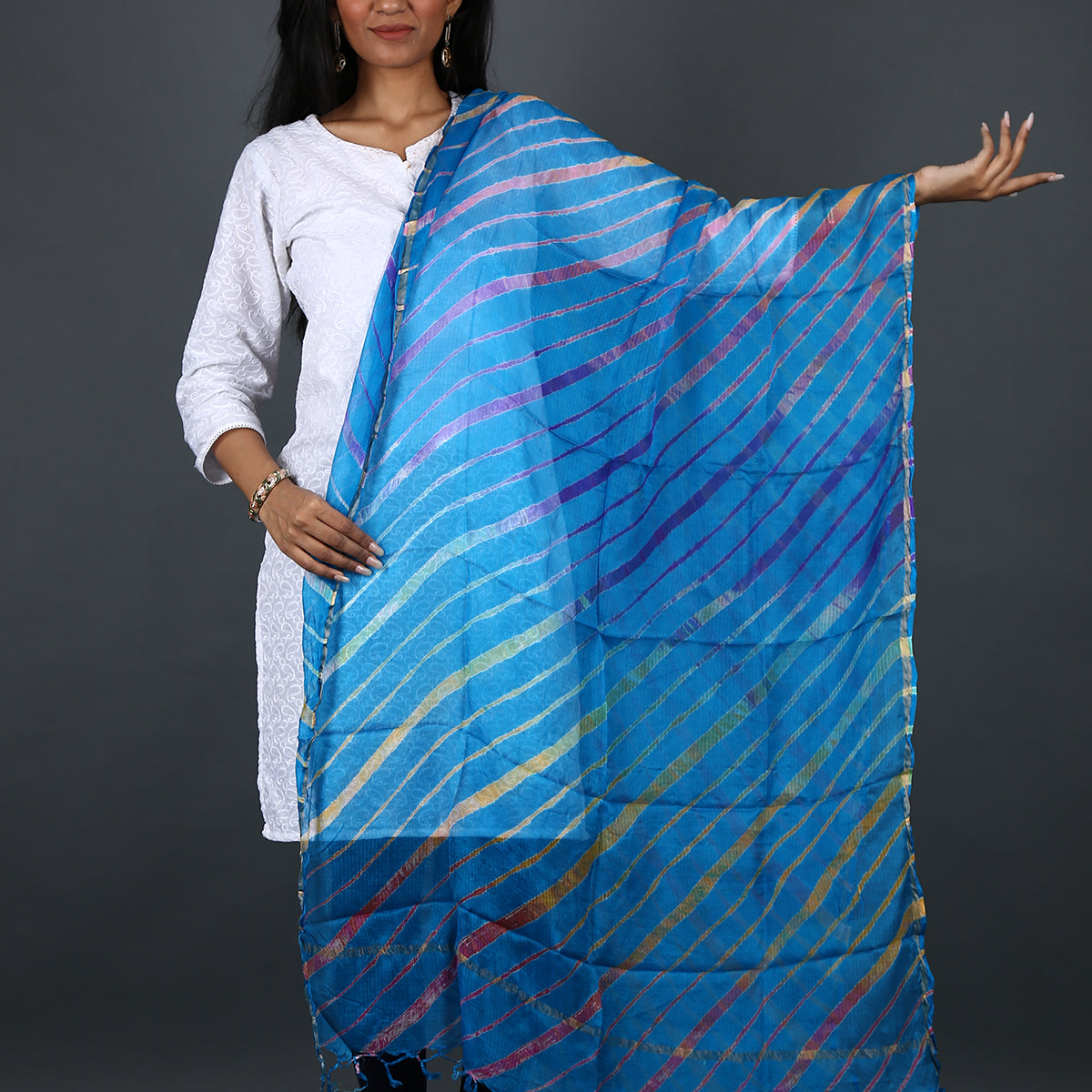 Blue Coloured Jaipur Leheriya Dupatta in Kota Silk 1