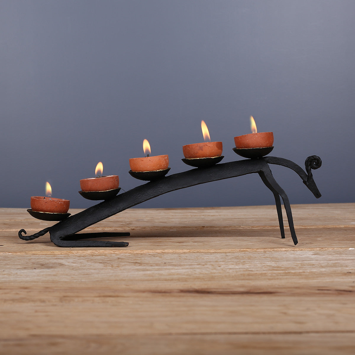 Wrought Iron Candle Stand in Dokra Art from Bastar