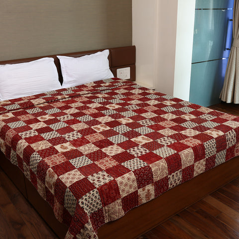Dual Side Ajrakh Patchwork Hand Block Printed Cotton Quilt with Kantha Work 5