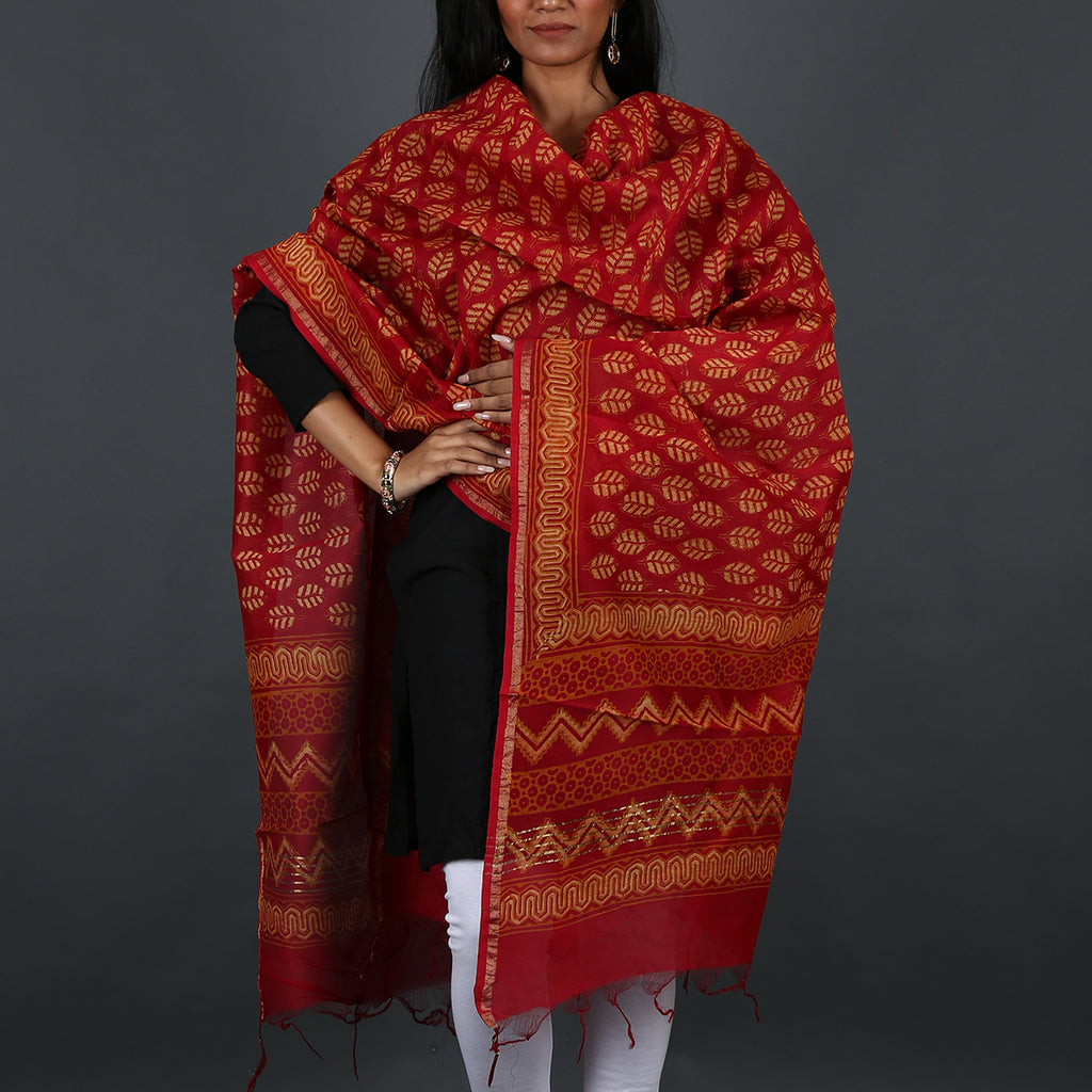 Natural Dyed Hand Block Printed Bagru Dupatta in Chanderi Cotton Silk 10