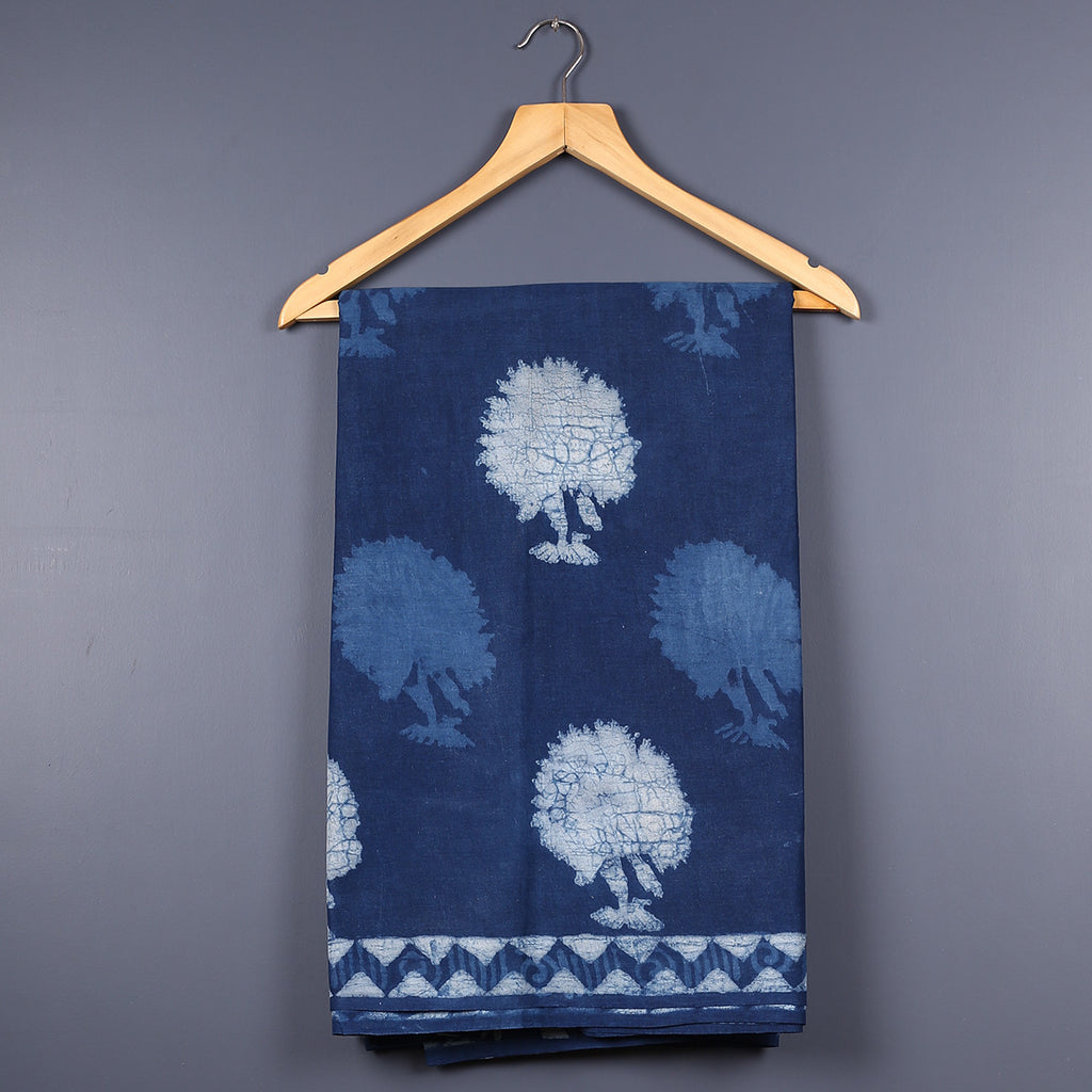 Dabu Hand Block Printed Indigo Cotton Saree with Blouse 9
