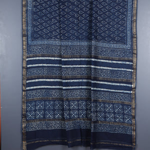 Dabu Hand Block Printed Indigo Chanderi Cotton Silk Saree 5