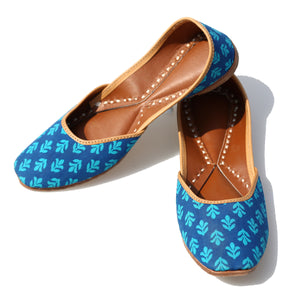 Blue Coloured Blockprinted Leather Mojris from Kutch