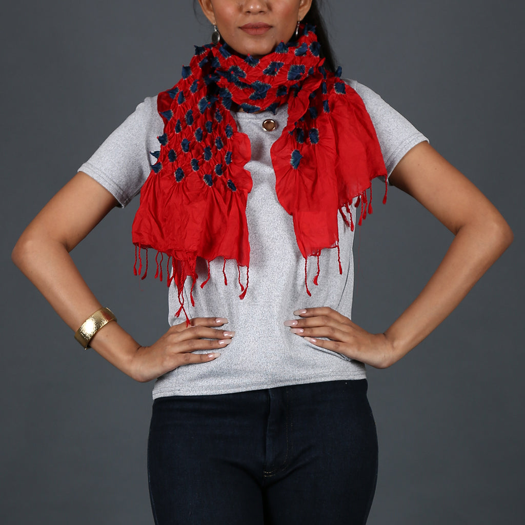 Red coloured Kutch Bandhni Stole in Tussar Silk with blue knots