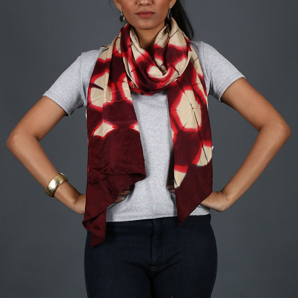 Kutch Tie & Dye Stole in Gajji Silk with Clamp Dye 14