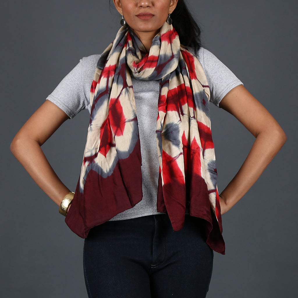 Kutch Tie & Dye Stole in Gajji Silk with Clamp Dye 11