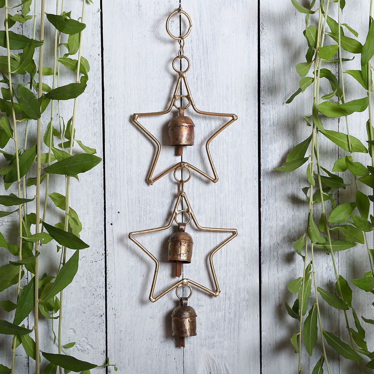 Kutch Metal Bell Wind Chimes - 3 Bell Star Design