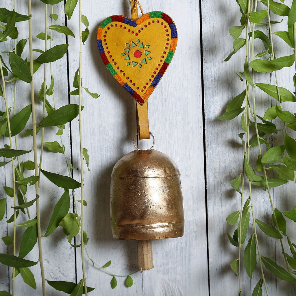 Kutch Metal Bell Wind Chimes - Size 8 Bell with Leather Strap