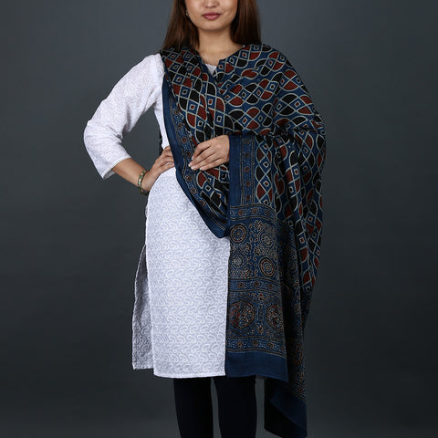 Ajrakh Natural Dyed Hand Block Printed Dupatta in Modal 1