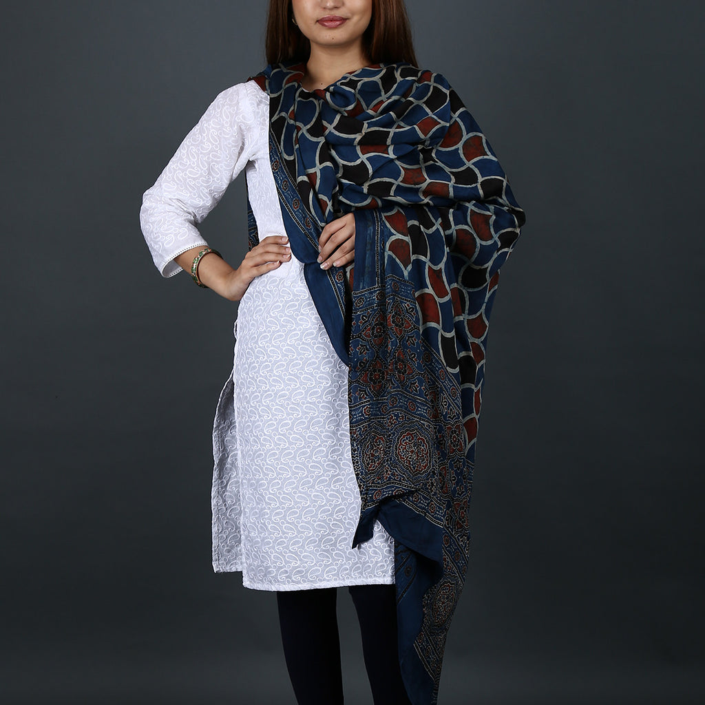 Ajrakh Natural Dyed Hand Block Printed Dupatta in Modal 2