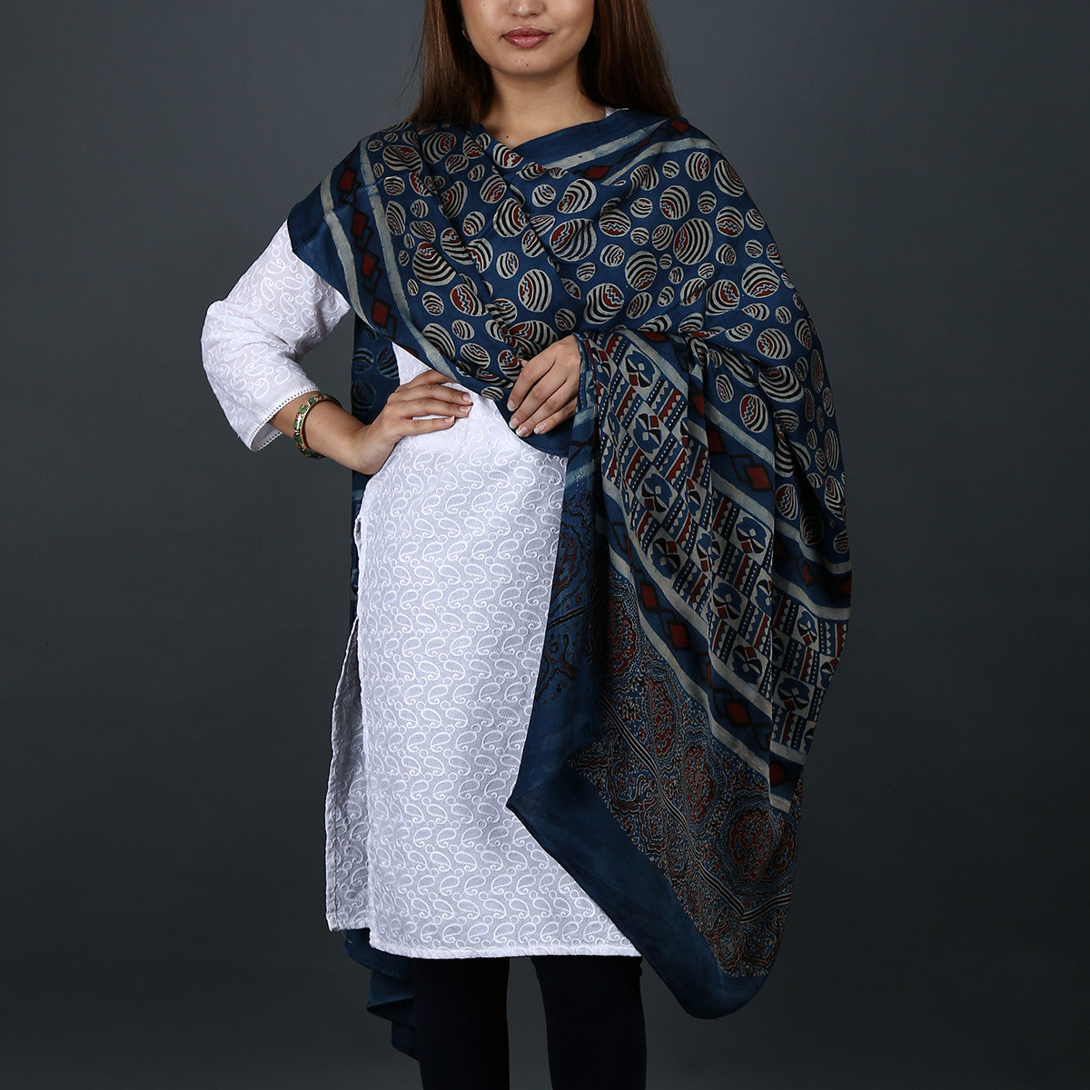 Ajrakh Natural Dyed Hand Block Printed Dupatta in Modal 3