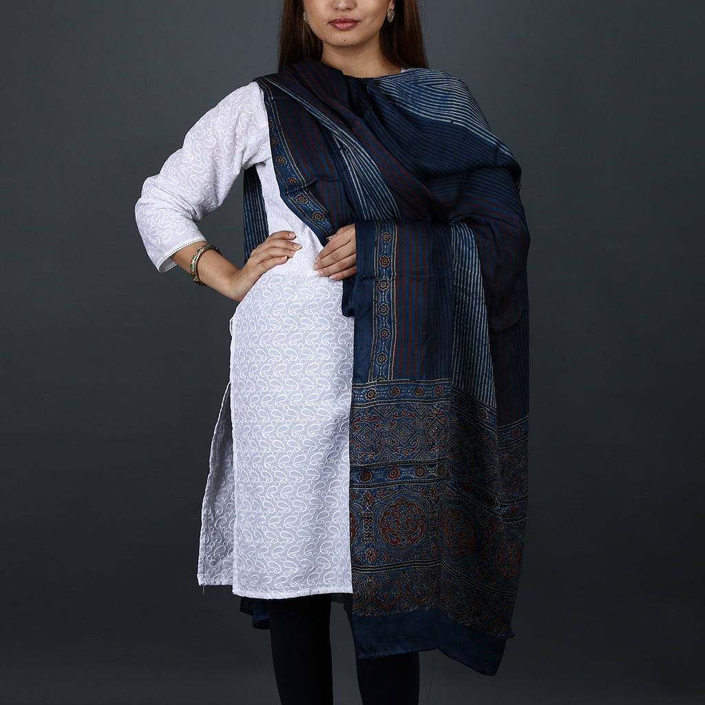 Ajrakh Natural Dyed Hand Block Printed Dupatta in Modal 4