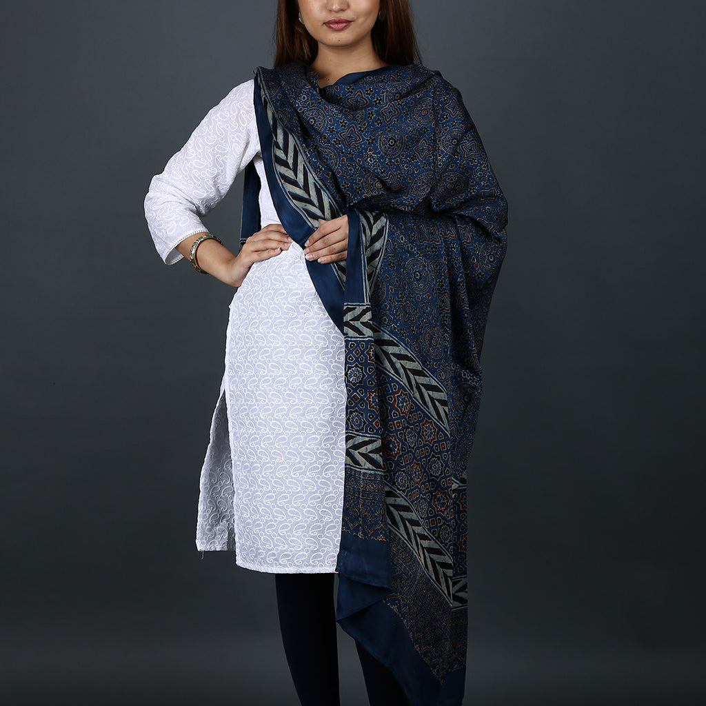 Ajrakh Natural Dyed Hand Block Printed Dupatta in Modal 6
