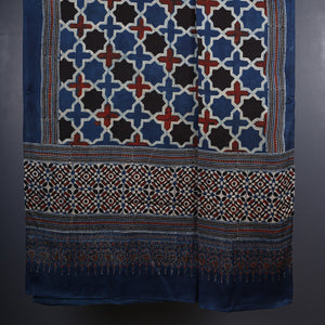Ajrakh Natural Dyed Hand Block Printed Dupatta in Modal 7