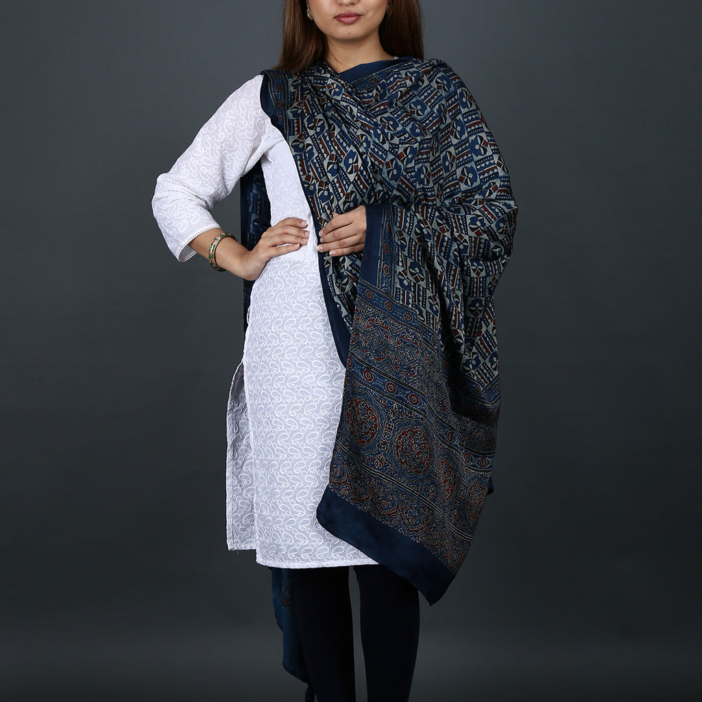 Ajrakh Natural Dyed Hand Block Printed Dupatta in Modal 8
