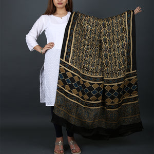 Ajrakh Natural Dyed Hand Block Printed Dupatta in Modal 9