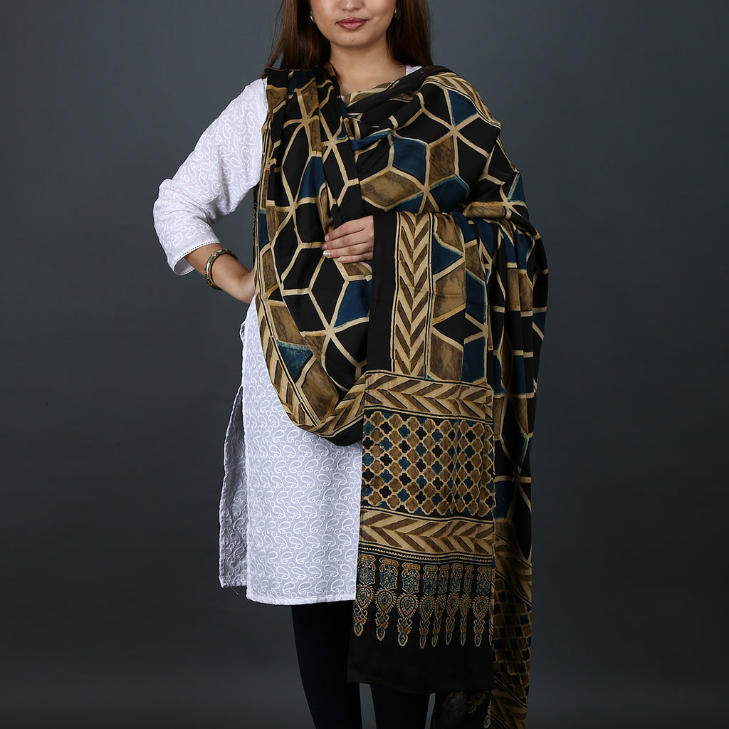 Ajrakh Natural Dyed Hand Block Printed Dupatta in Modal 10