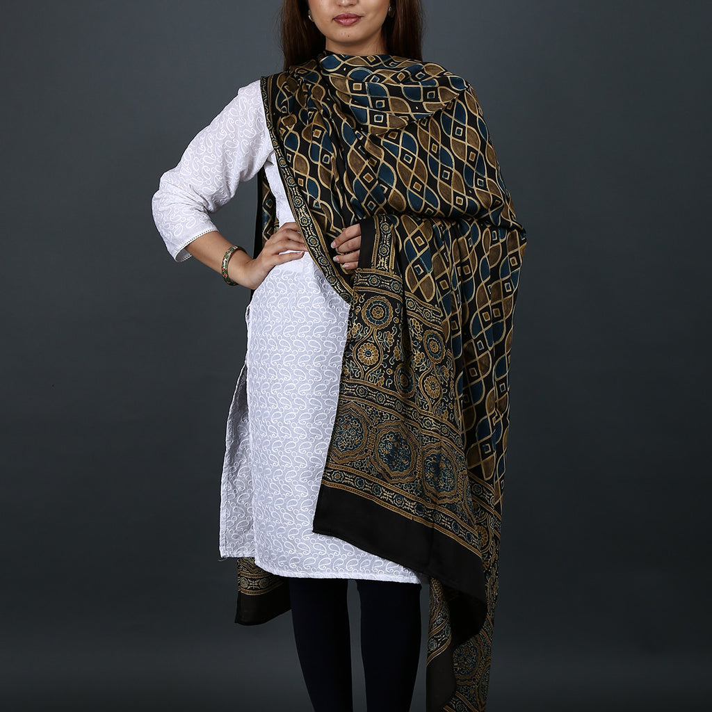 Ajrakh Natural Dyed Hand Block Printed Dupatta in Modal 11