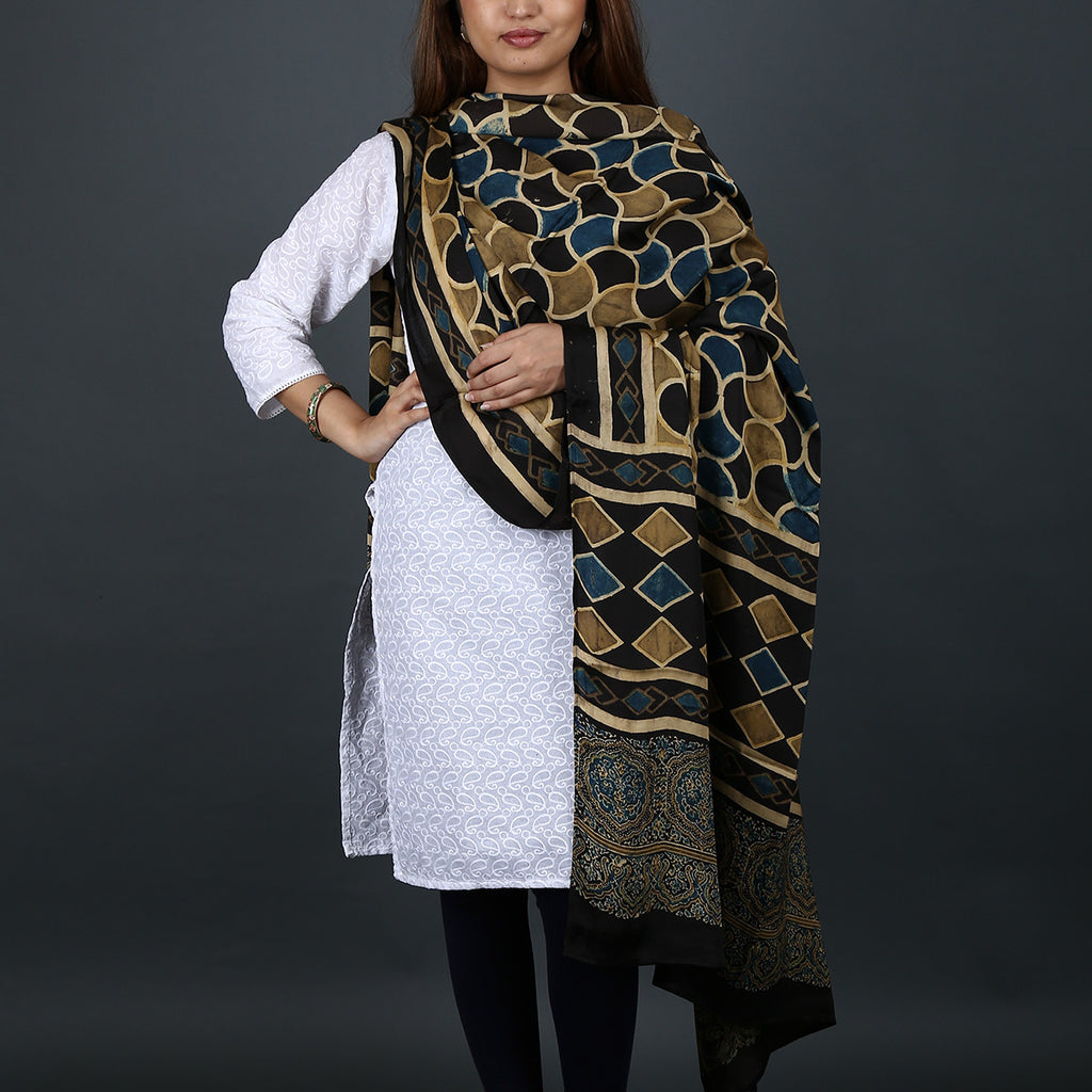 Ajrakh Natural Dyed Hand Block Printed Dupatta in Modal 12