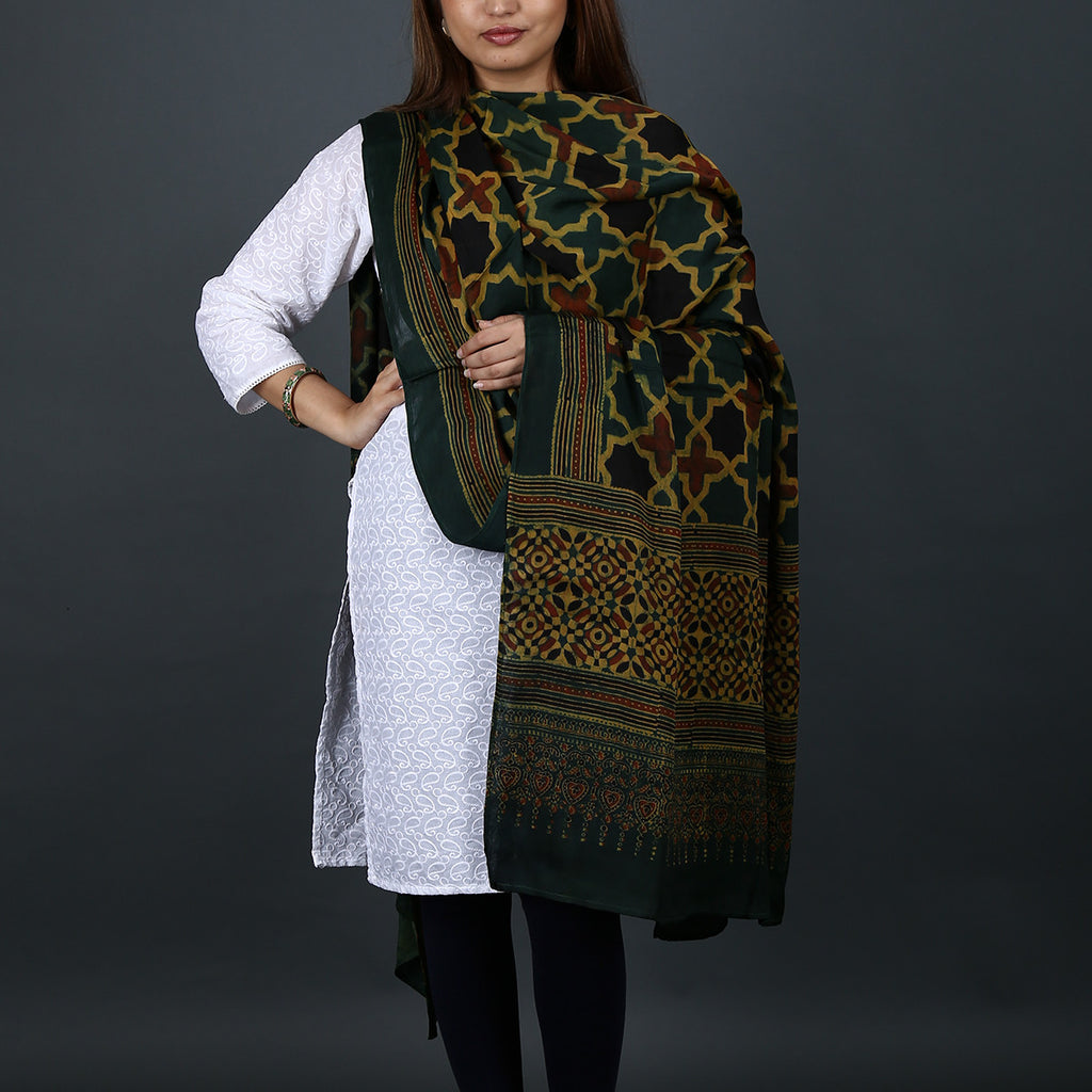Ajrakh Natural Dyed Hand Block Printed Dupatta in Modal 13