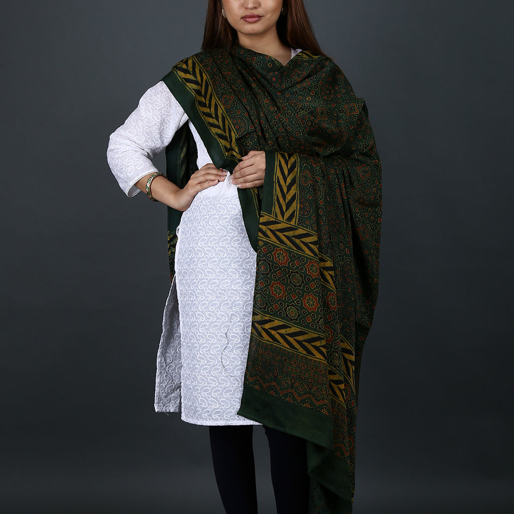 Ajrakh Natural Dyed Hand Block Printed Dupatta in Modal 14