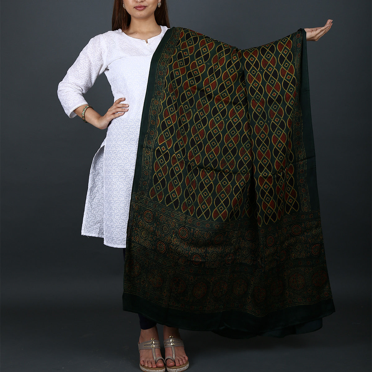 Ajrakh Natural Dyed Hand Block Printed Dupatta in Modal 15
