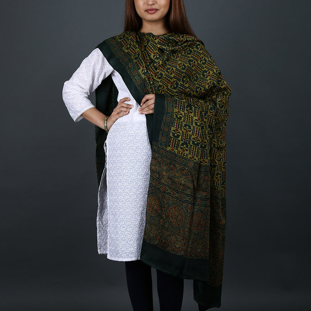 Ajrakh Natural Dyed Hand Block Printed Dupatta in Modal 16