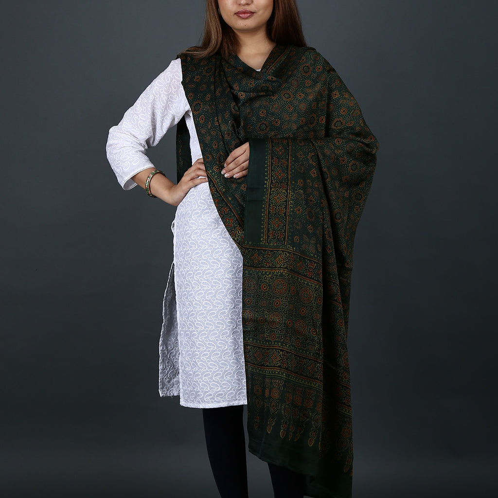 Ajrakh Natural Dyed Hand Block Printed Dupatta in Modal 17