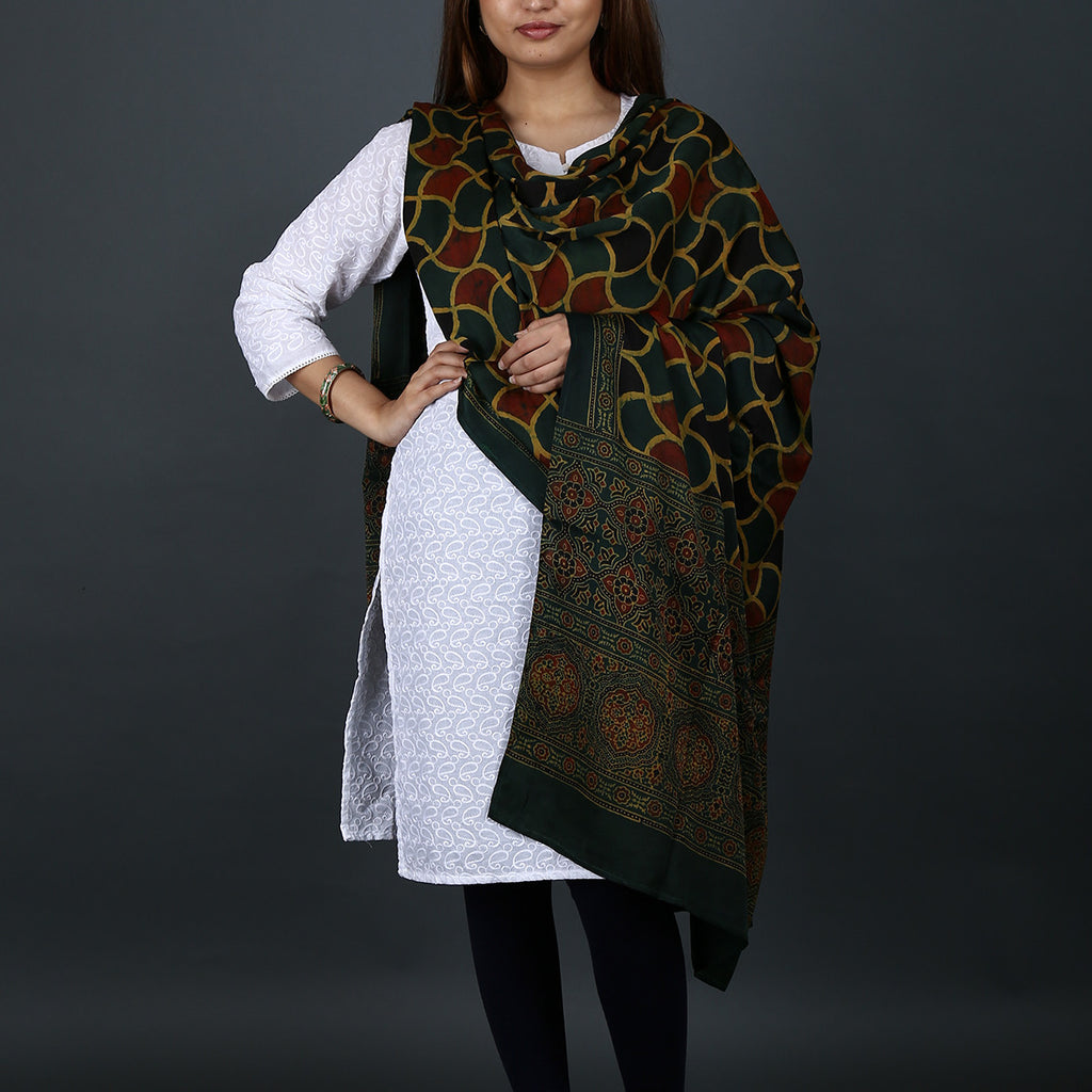 Ajrakh Natural Dyed Hand Block Printed Dupatta in Modal 19