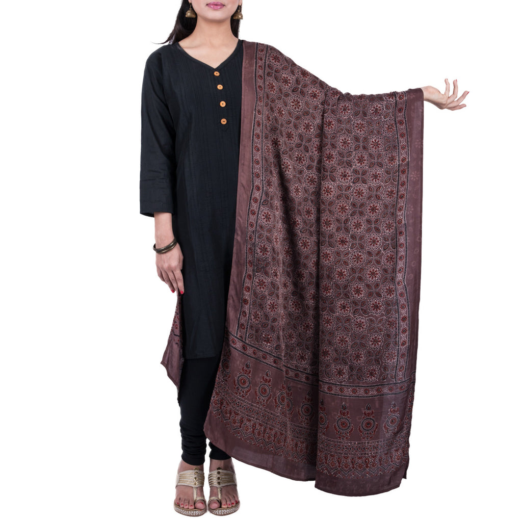 Ajrakh Natural Dyed Hand Block Printed Dupatta in Modal 22
