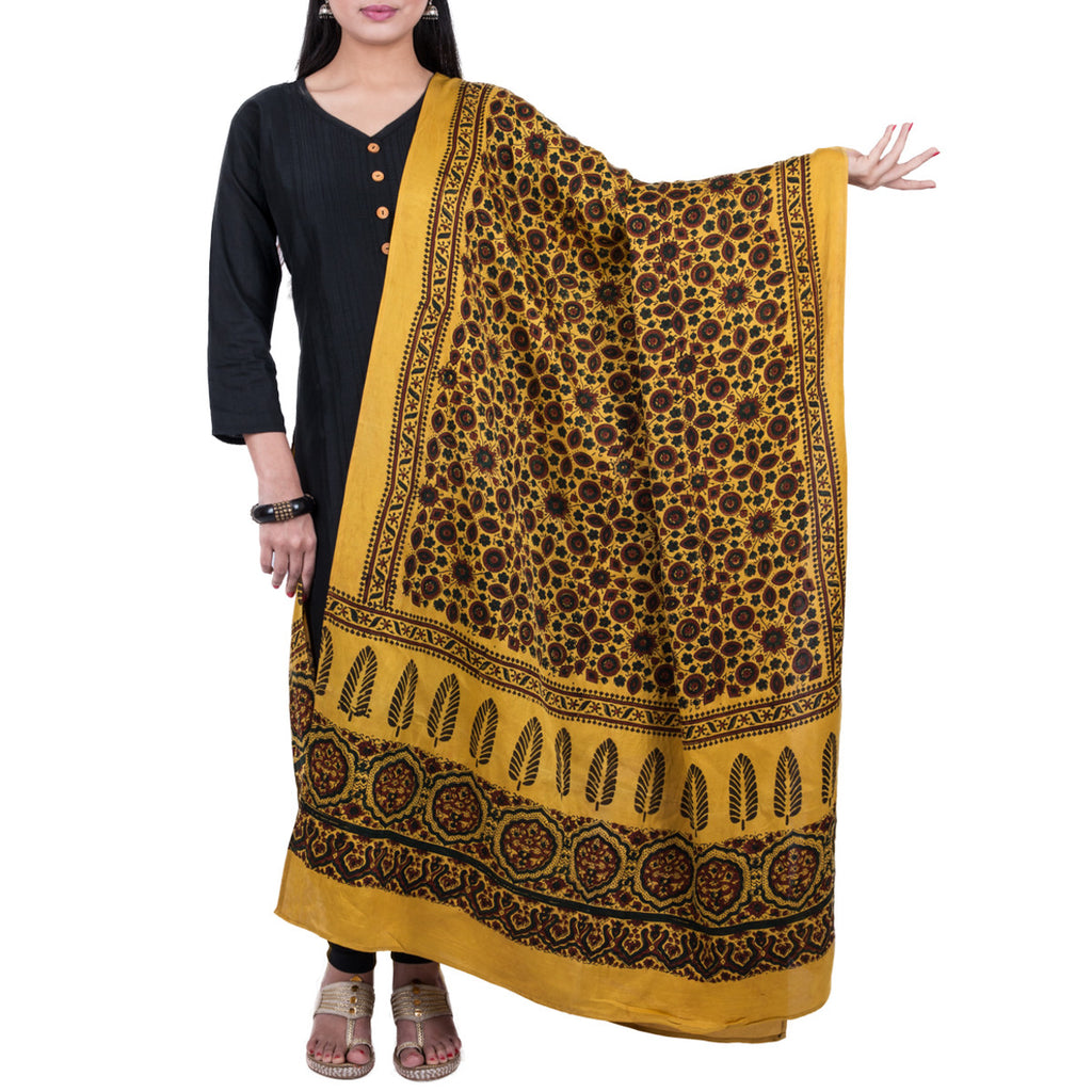 Ajrakh Natural Dyed Hand Block Printed Dupatta in Modal 26