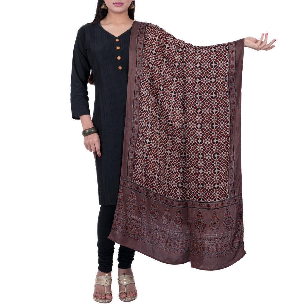 Ajrakh Natural Dyed Hand Block Printed Dupatta in Modal 21