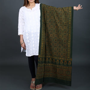 Ajrakh Natural Dyed Hand Block Printed Dupatta in Cotton 28