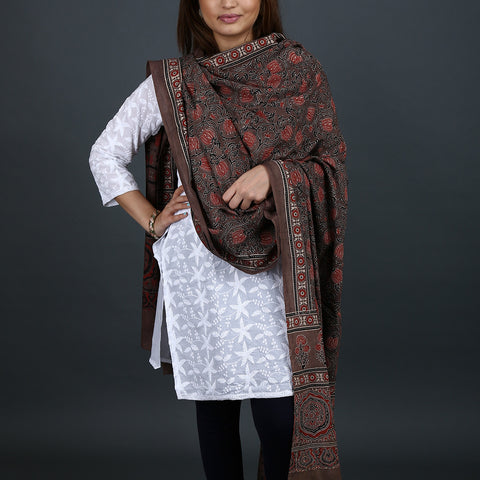 Ajrakh Natural Dyed Hand Block Printed Dupatta in Cotton 29