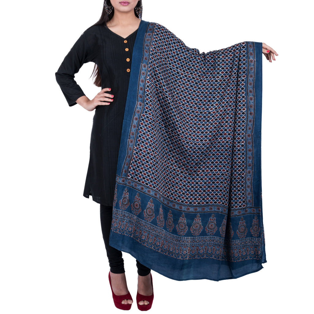 Ajrakh Natural Dyed Hand Block Printed Dupatta in Modal 24