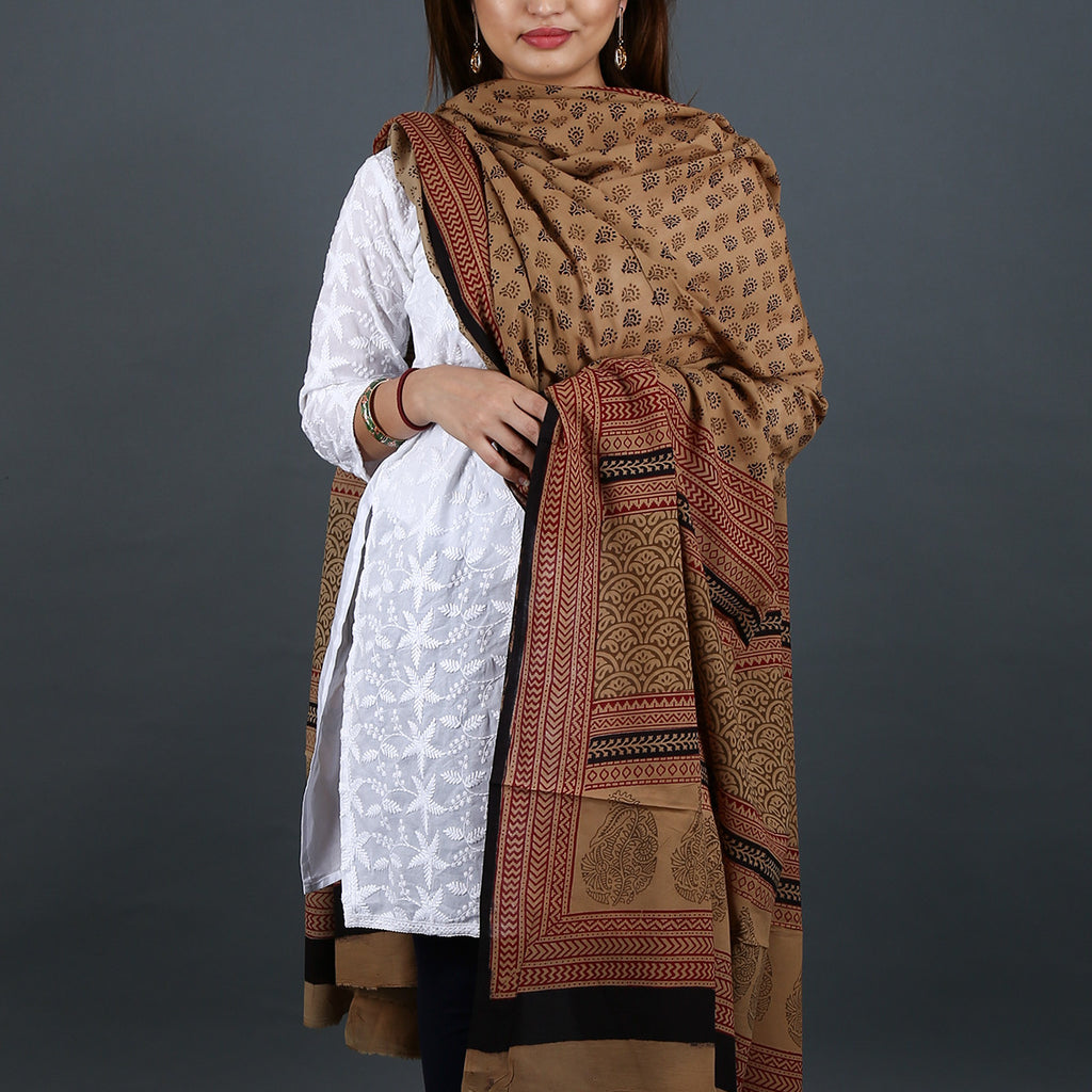 Bagh Hand Block Printed Dupatta in Cotton 1
