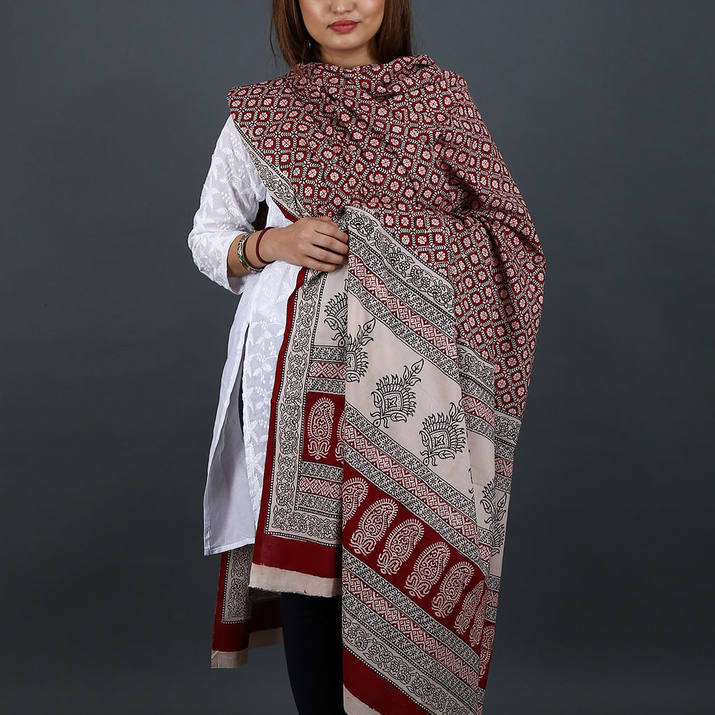 Bagh Hand Block Printed Dupatta in Cotton 7