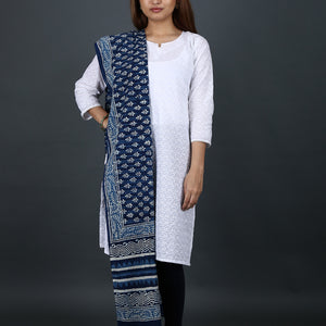 Natural Dyed Hand Block Printed Indigo Dabu Dupatta in Cotton