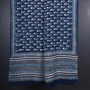 Natural Dyed Hand Block Printed Indigo Dabu Dupatta in Cotton 1