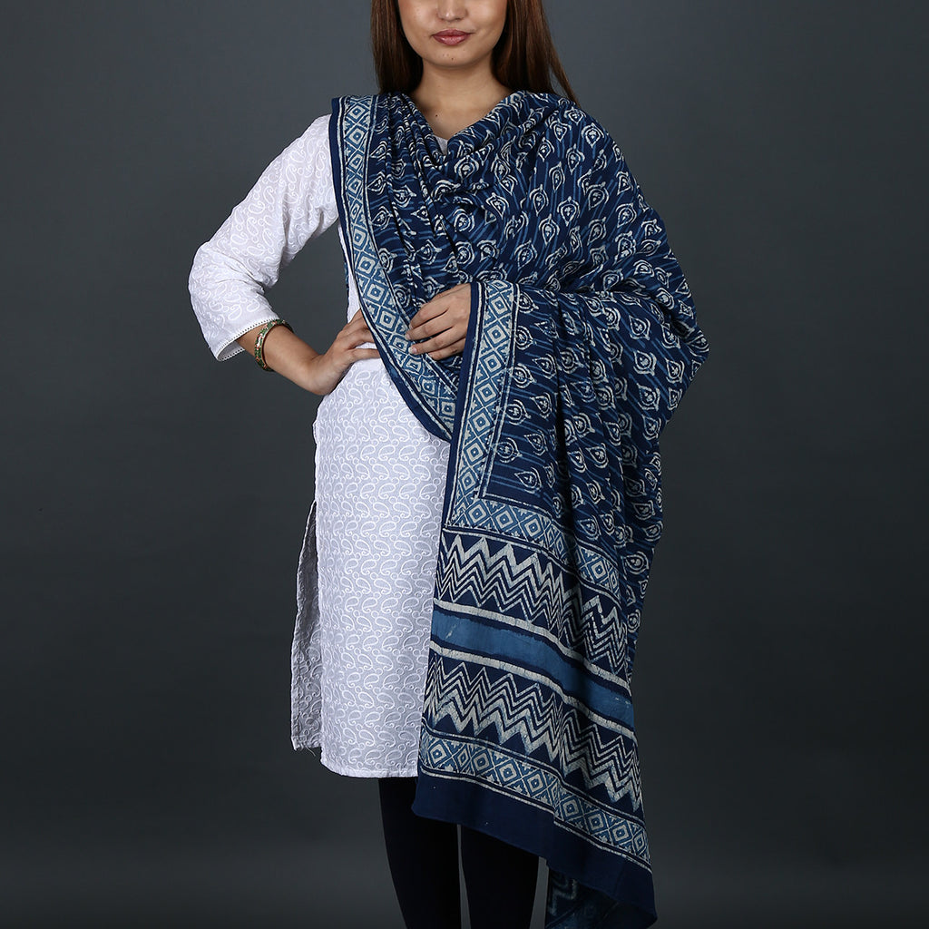 Natural Dyed Hand Block Printed Indigo Dabu Dupatta in Cotton 5