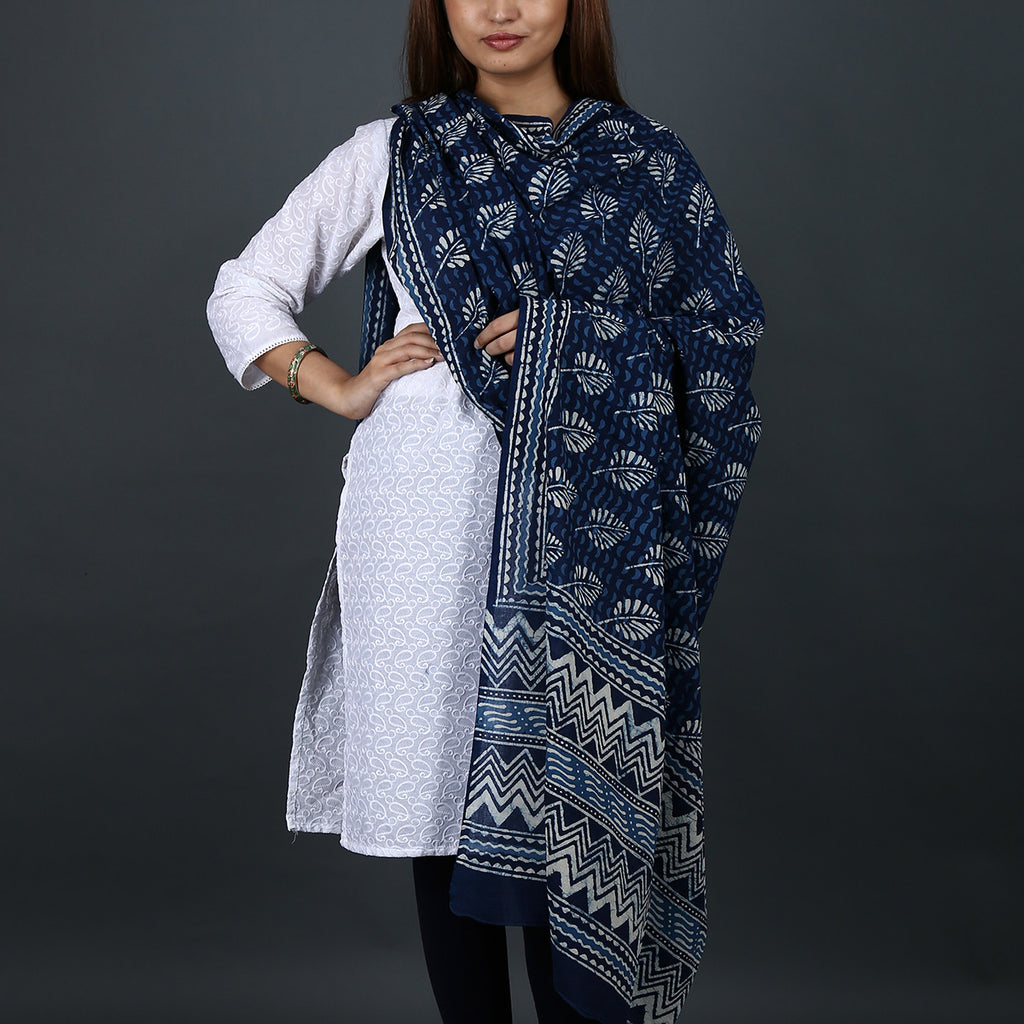 Natural Dyed Hand Block Printed Indigo Dabu Dupatta in Cotton 6
