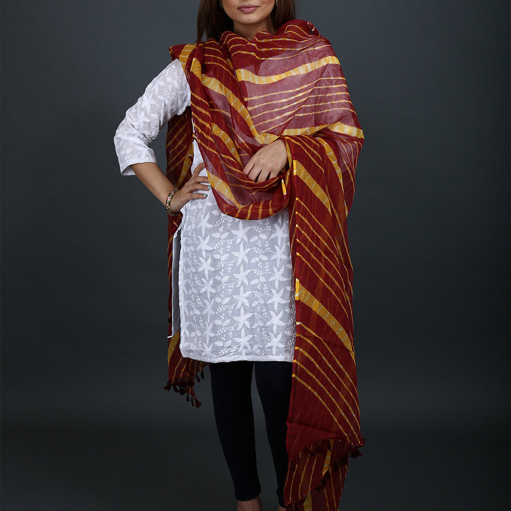 Maroon Coloured Jaipur Leheriya Dupatta in Kota Cotton
