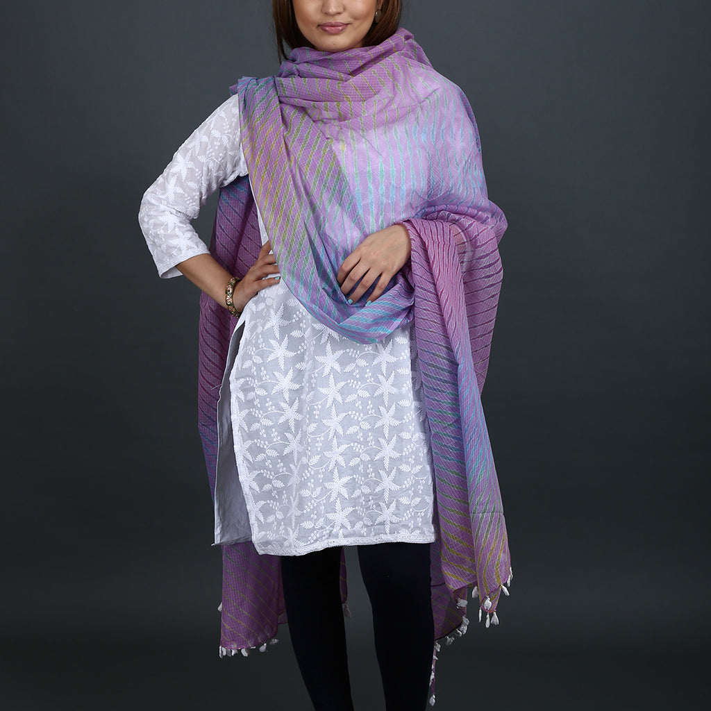Light Purple Coloured Jaipur Leheriya Dupatta in Kota Cotton