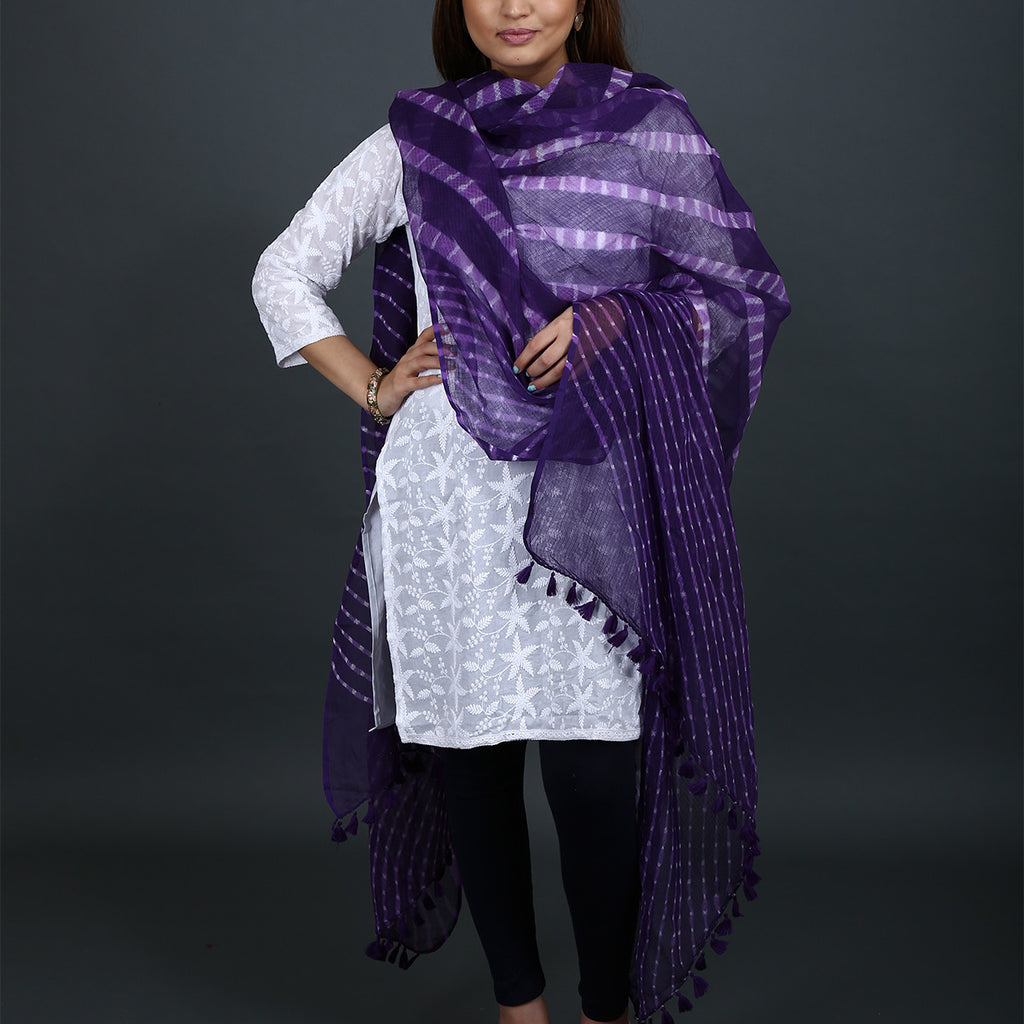 Violet Coloured Jaipur Leheriya Dupatta in Kota Cotton