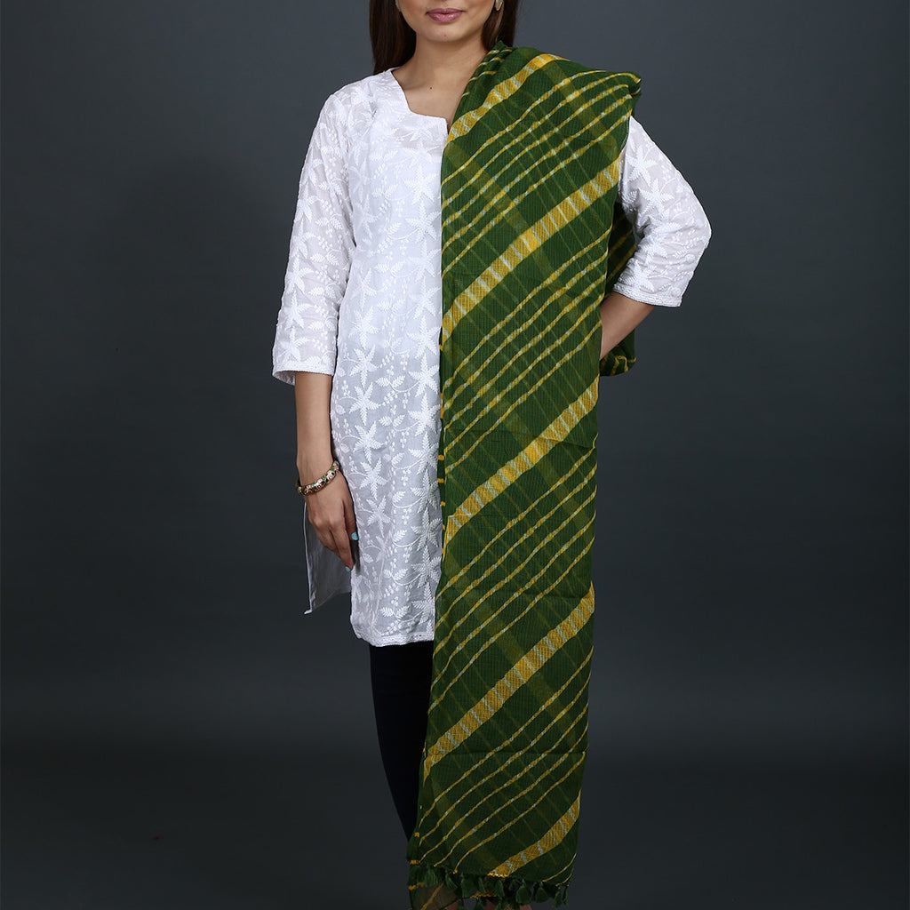 Green Coloured Jaipur Leheriya Dupatta in Kota Cotton