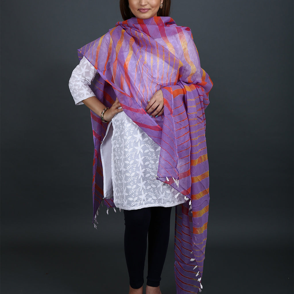 Light Purple Coloured with Orange stripes Jaipur Leheriya Dupatta in Kota Cotton