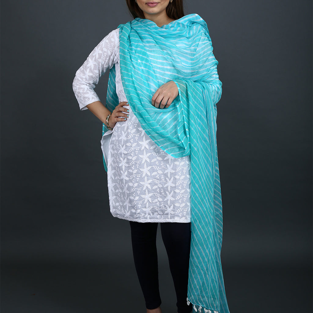 Sea Blue Coloured Jaipur Leheriya Dupatta in Kota Cotton